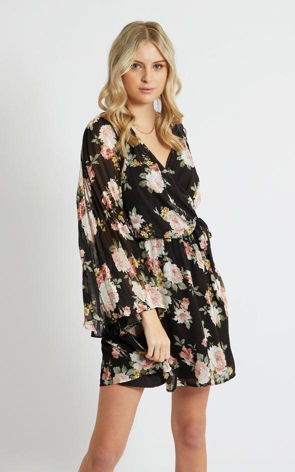 Chiffon Pleated Sleeve Wrap Dress Black/floral