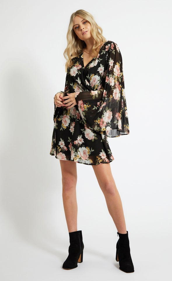 Chiffon Pleated Sleeve Wrap Dress
