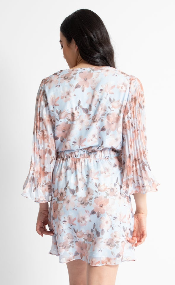 Chiffon Pleated Sleeve Wrap Dress Blue/peach