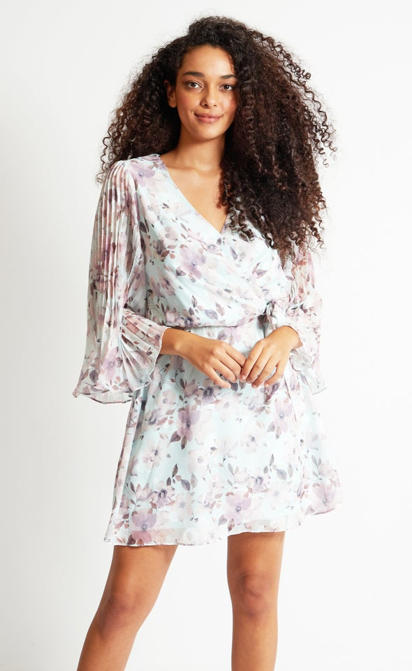 Chiffon Pleated Sleeve Wrap Dress Mint/lilac