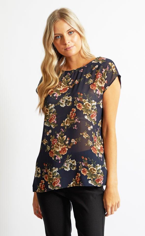 Chiffon Print Jersey Back Top Navy/floral
