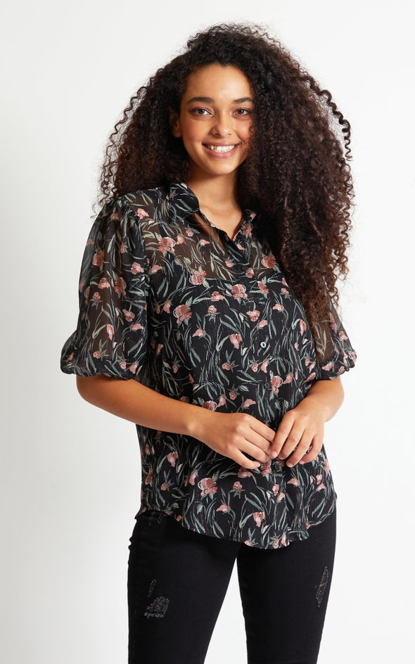 Chiffon Puff Sleeve Shirt Black Floral