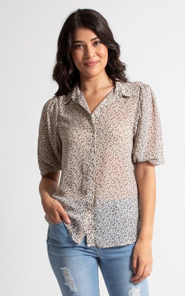 Chiffon Puff Sleeve Shirt Cream/black