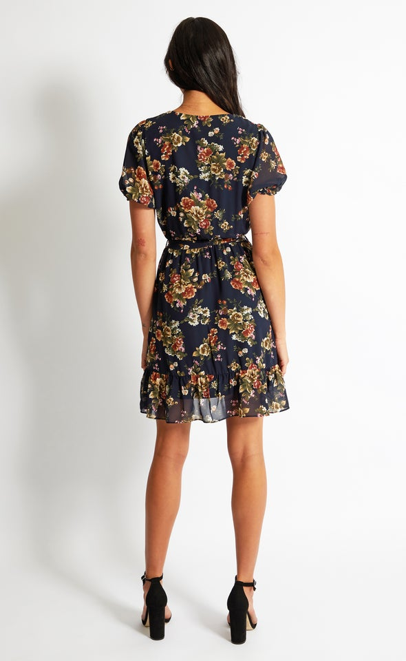 Chiffon Puff Sleeve Wrap Dress Navy/floral