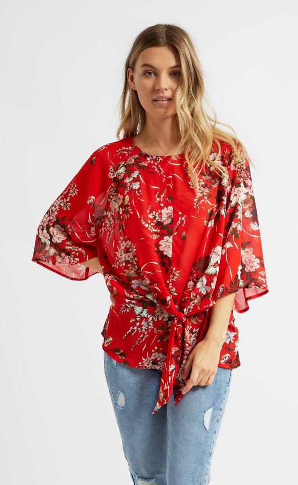 Chiffon Raglan Knot Front Top Red/floral