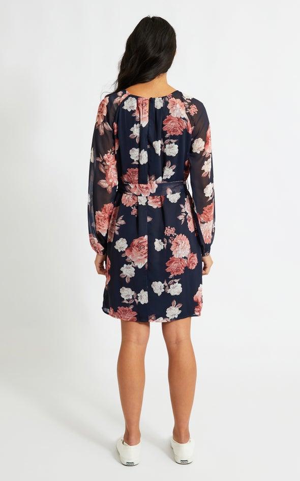 Chiffon Raglan LS Shift Dress Navy/floral