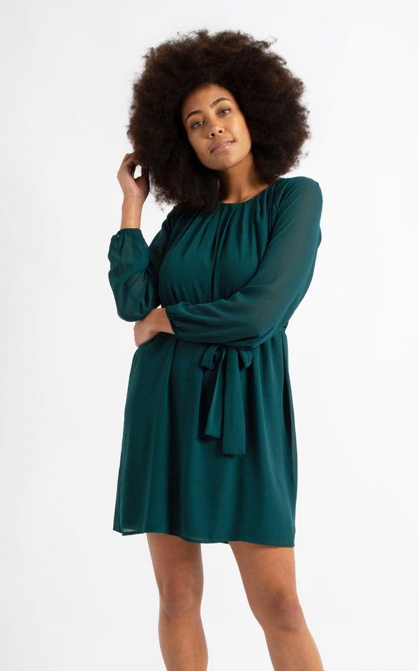 Chiffon Raglan LS Shift Dress Emerald