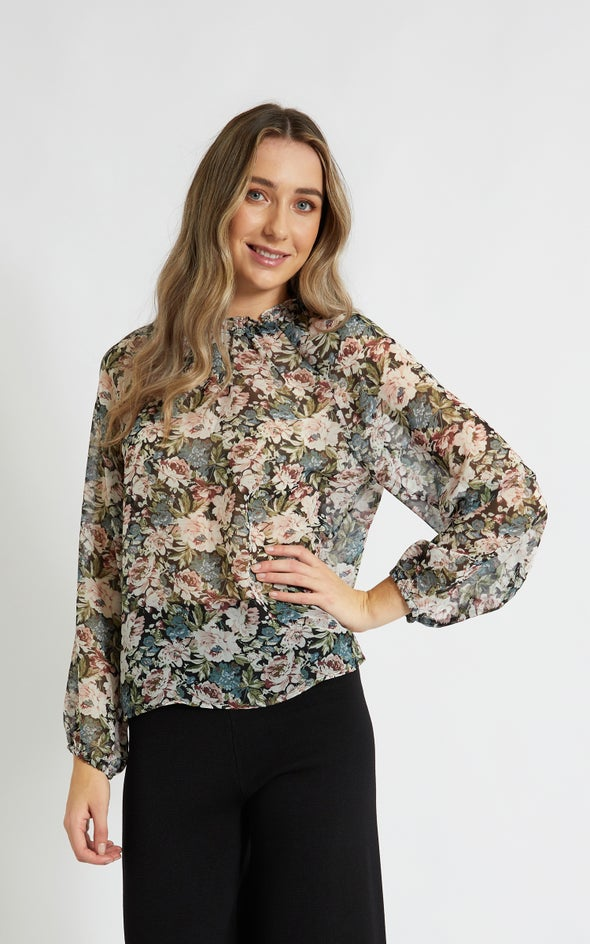 Chiffon Raglan Ruffle Neck Top Black/floral