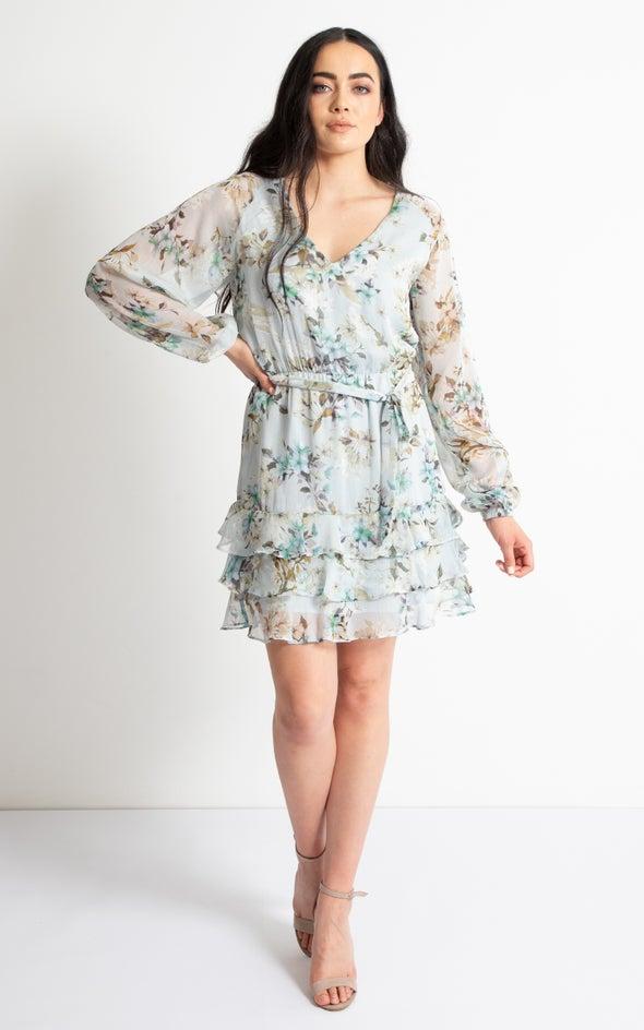 Chiffon Raglan Sleeve Ruffle Dress Light Blue/floral