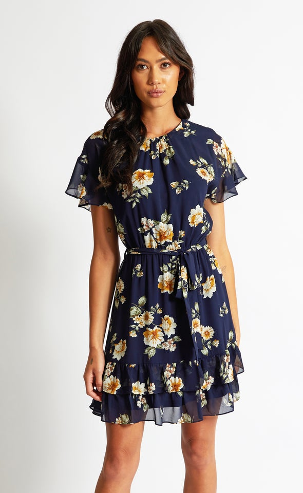 Chiffon Ruched Frill Detail Dress Navy/floral