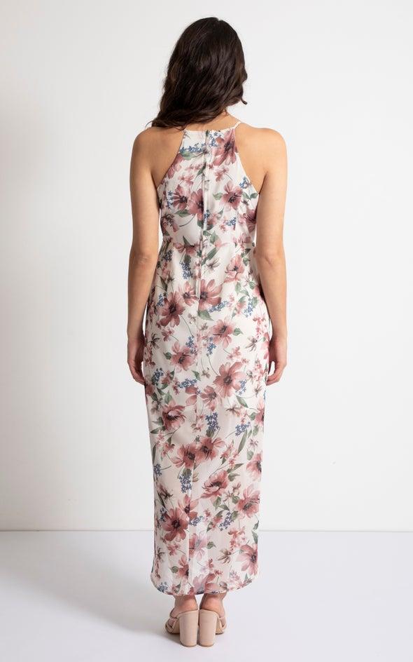 Chiffon Ruched Neck Wrap Maxi Beige/floral