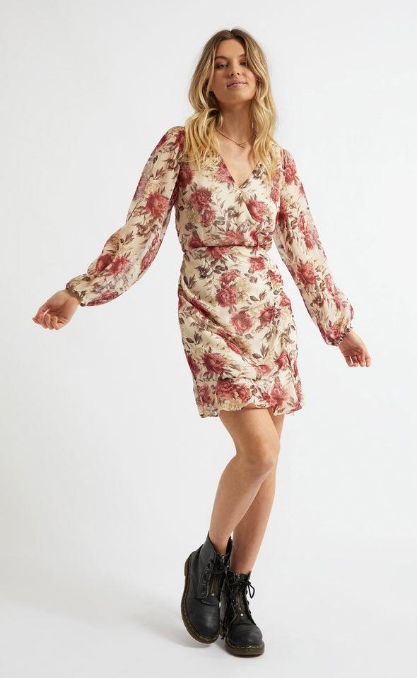 Chiffon Ruching Detail Wrap Dress Beige/floral