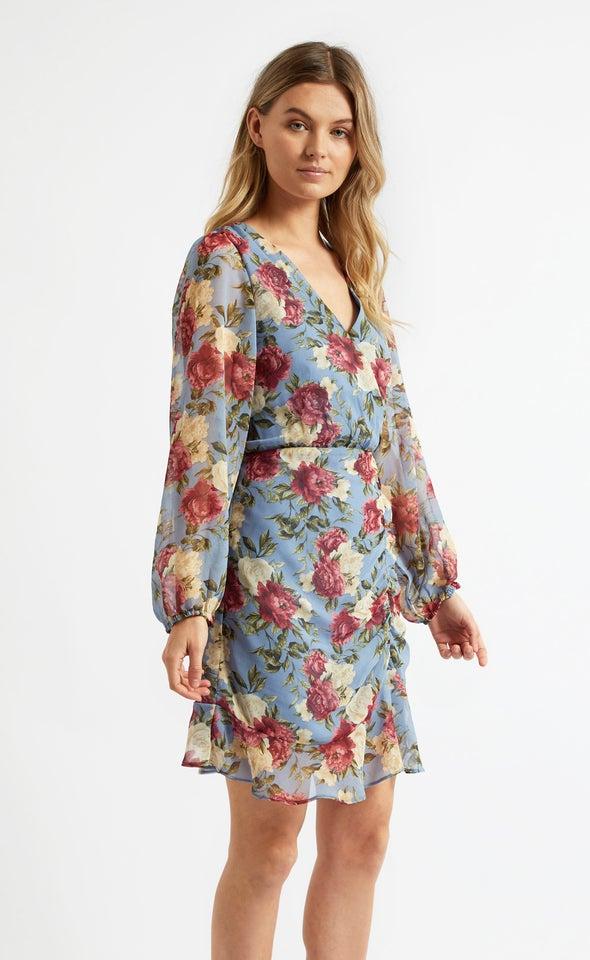 Chiffon Ruching Detail Wrap Dress Blue/floral