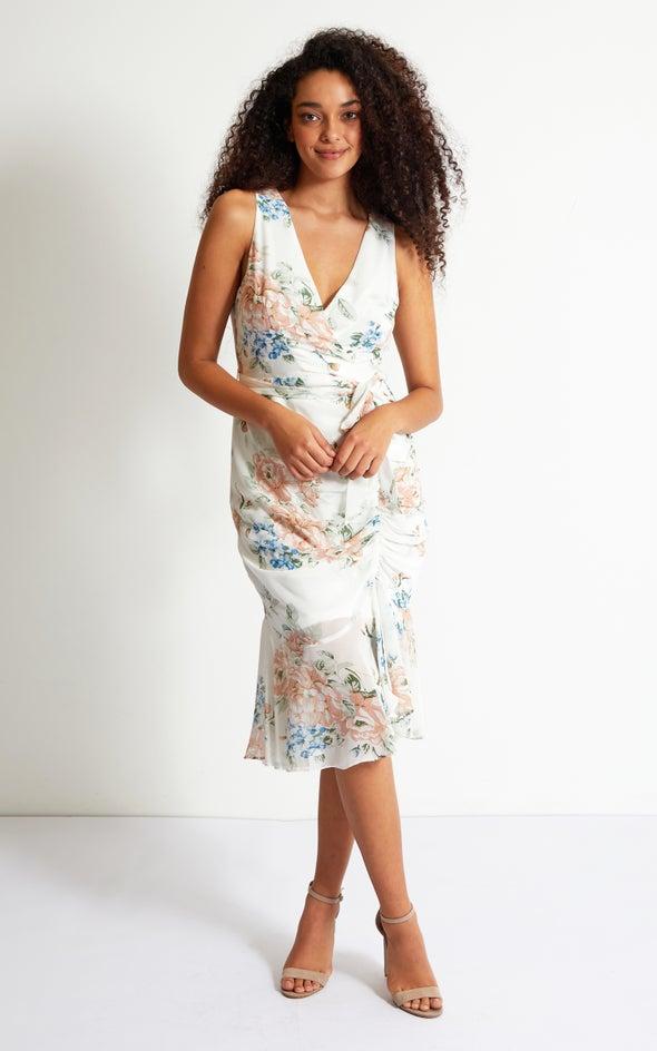 Chiffon Ruching Skirt Detail Dress Cream/floral
