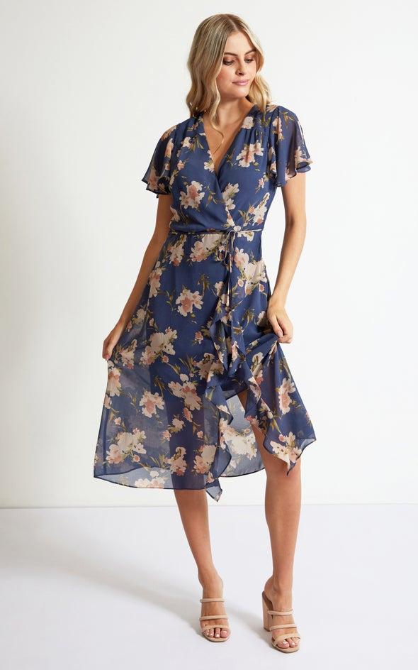 Chiffon Ruffle Detail Midi Dress Blue/floral
