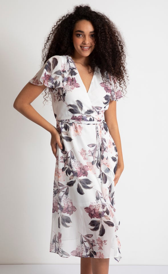 Chiffon Ruffle Detail Midi Dress Cream/floral