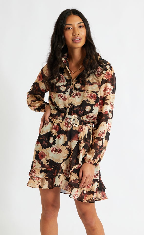 Chiffon Ruffle Detail Shirt Dress Black/floral