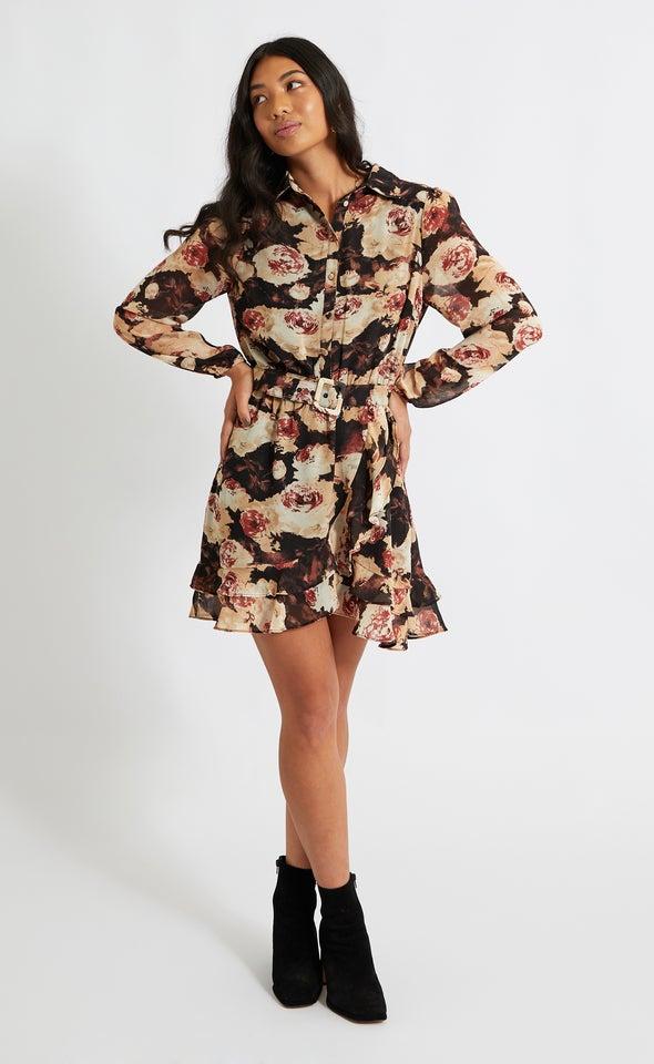 Chiffon Ruffle Detail Shirt Dress