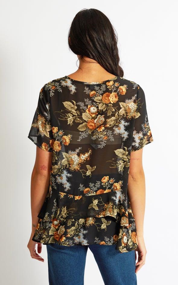 Chiffon Ruffle Hem Tee Black/floral