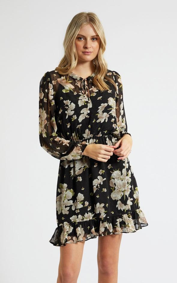 Chiffon Ruffle Neck LS Dress Black/floral