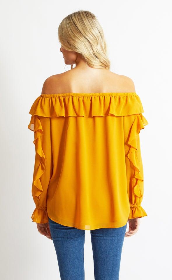 Chiffon Ruffle Off Shoulder Top Mustard