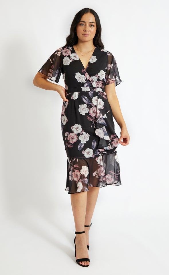 Chiffon Ruffle Peplum Hem Dress Black/floral
