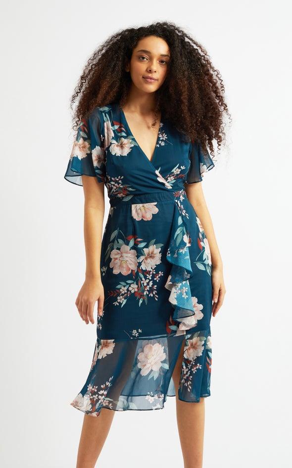Chiffon Ruffle Peplum Hem Dress Dark Teal/floral