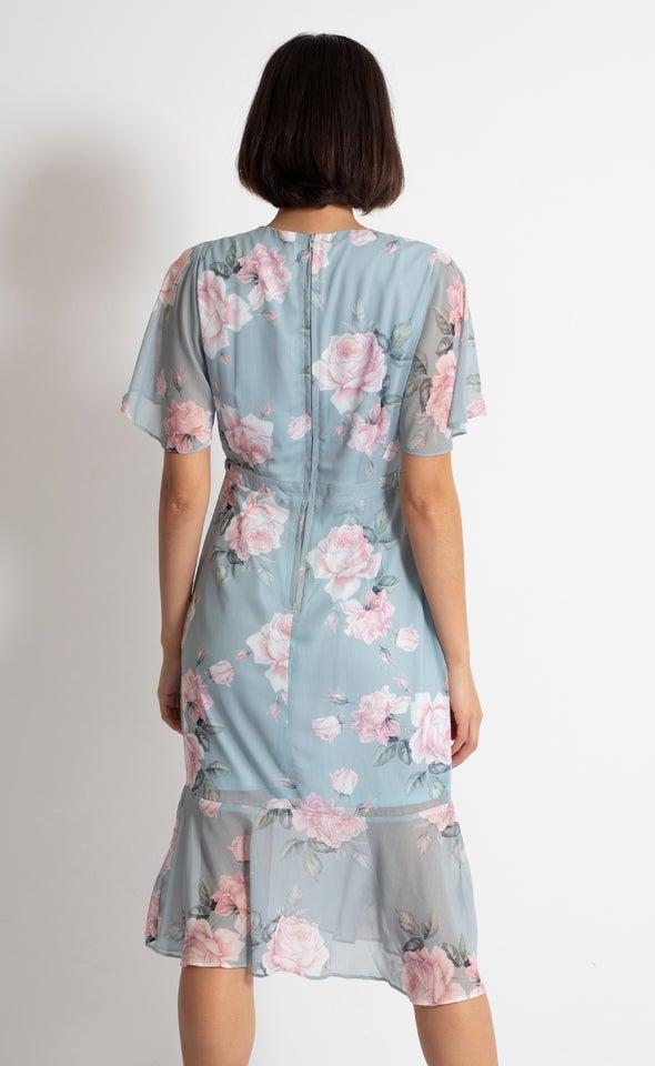 Chiffon Ruffle Peplum Hem Dress Mint/blush