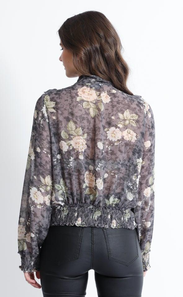 Chiffon Ruffle Shirt Blk Print