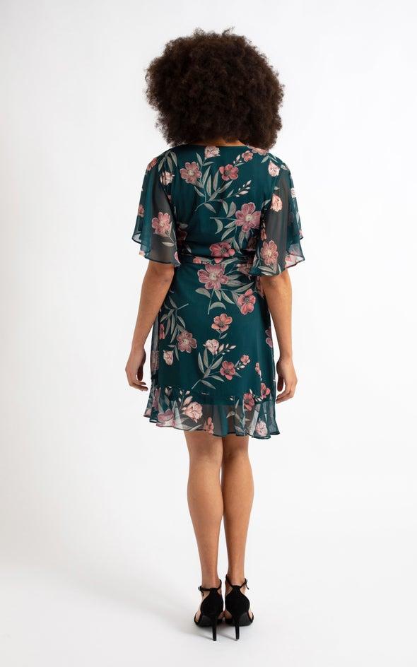 Chiffon Ruffle Tie Wrap Dress Emerald/floral