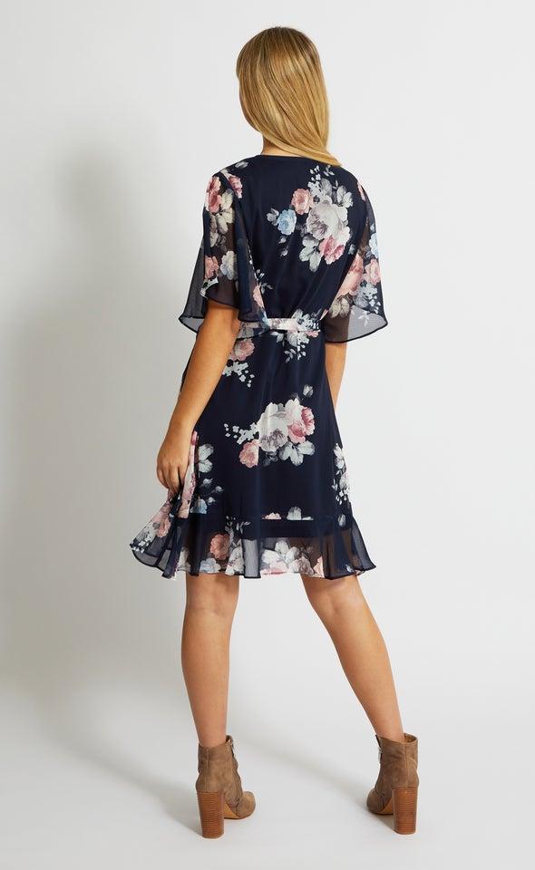 Chiffon Ruffle Tie Wrap Dress Navy/floral