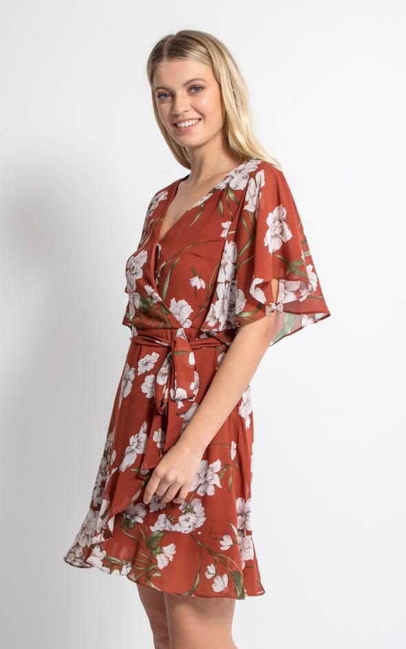 Chiffon Ruffle Tie Wrap Dress Rust/floral