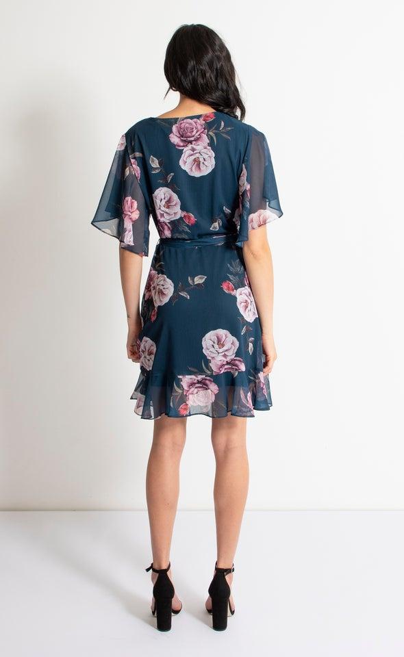 Chiffon Ruffle Tie Wrap Dress Teal/pink