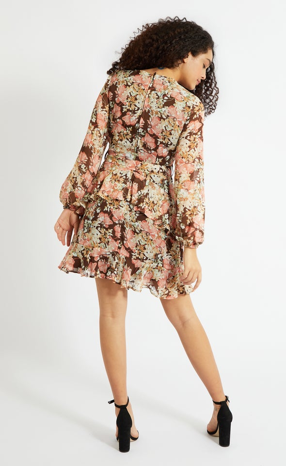 Chiffon Ruffle Wrap LS Dress Brown/floral