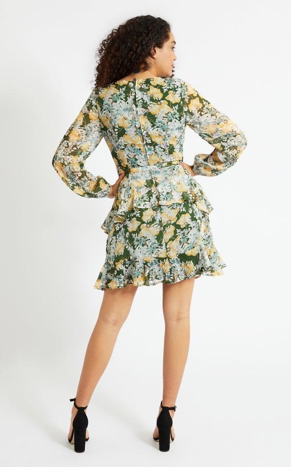 Chiffon Ruffle Wrap LS Dress Green/floral
