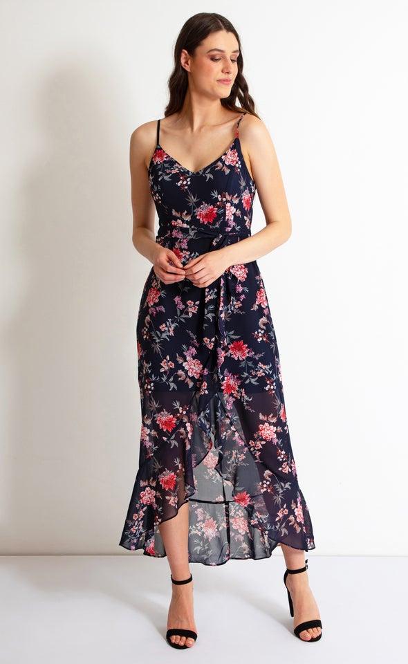 Chiffon Ruffle Wrap Maxi Navy/floral
