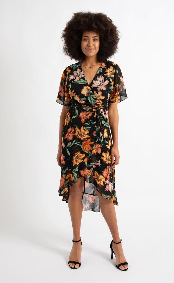 Chiffon Ruffle Wrap Midi Dress Black/floral