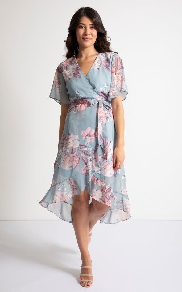 Chiffon Ruffle Wrap Midi Dress Mint/floral