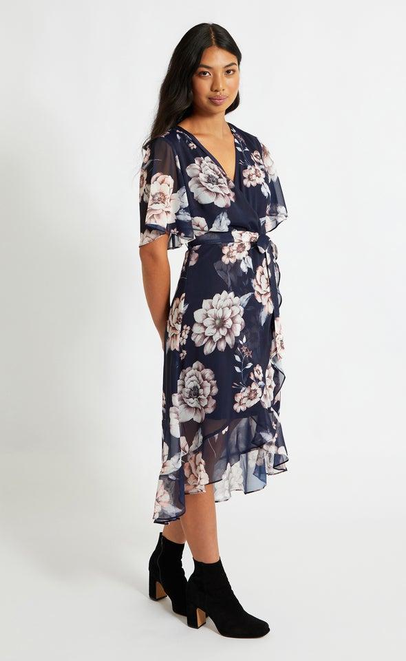 Chiffon Ruffle Wrap Midi Dress Navy/floral
