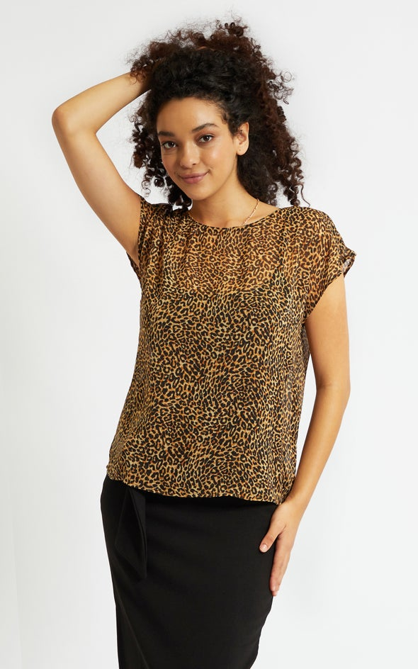 Chiffon Scoop Neck Top Leopard Print