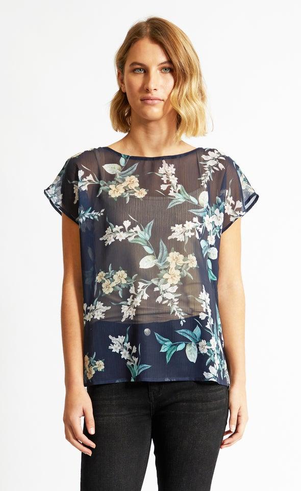 Chiffon Scoop Neck Top Navy/floral