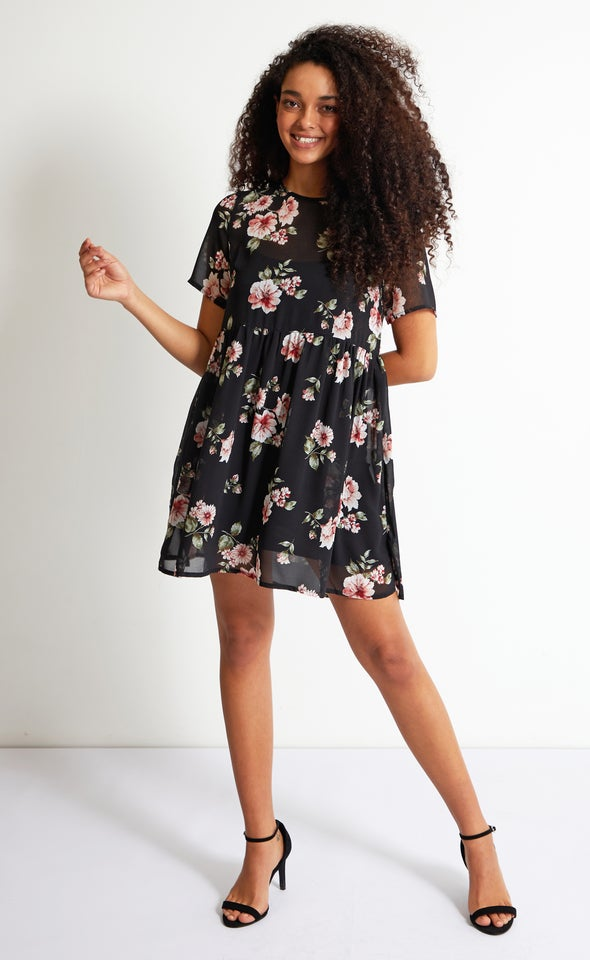 Chiffon Sheer Babydoll Dress Black/pink