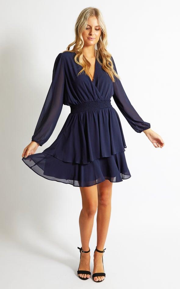 Chiffon Shirred Waist LS Dress Navy
