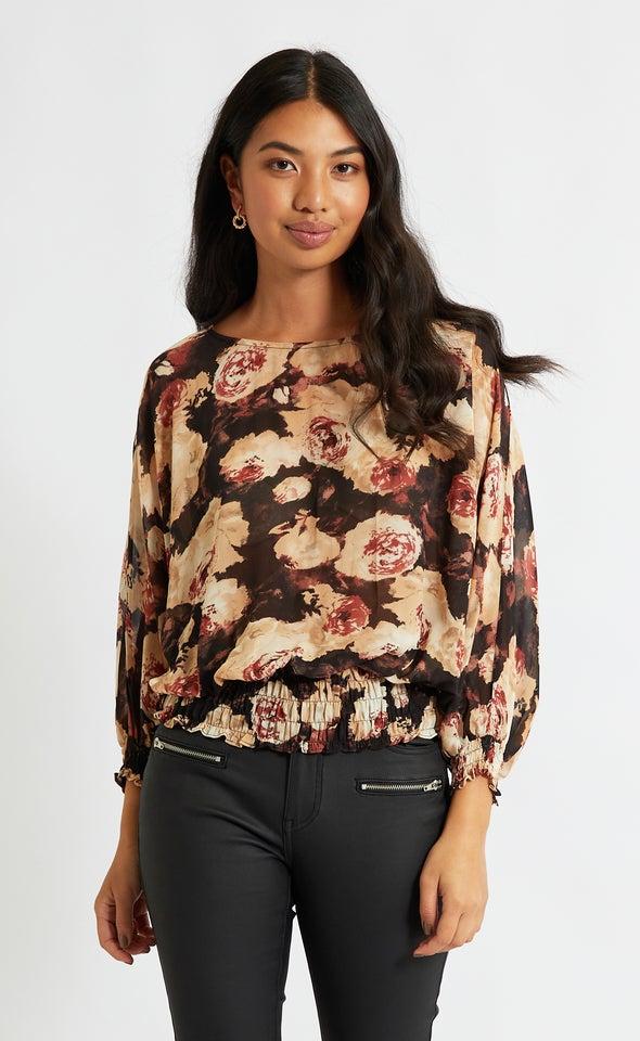 Chiffon Shirred Batwing Top Black/floral