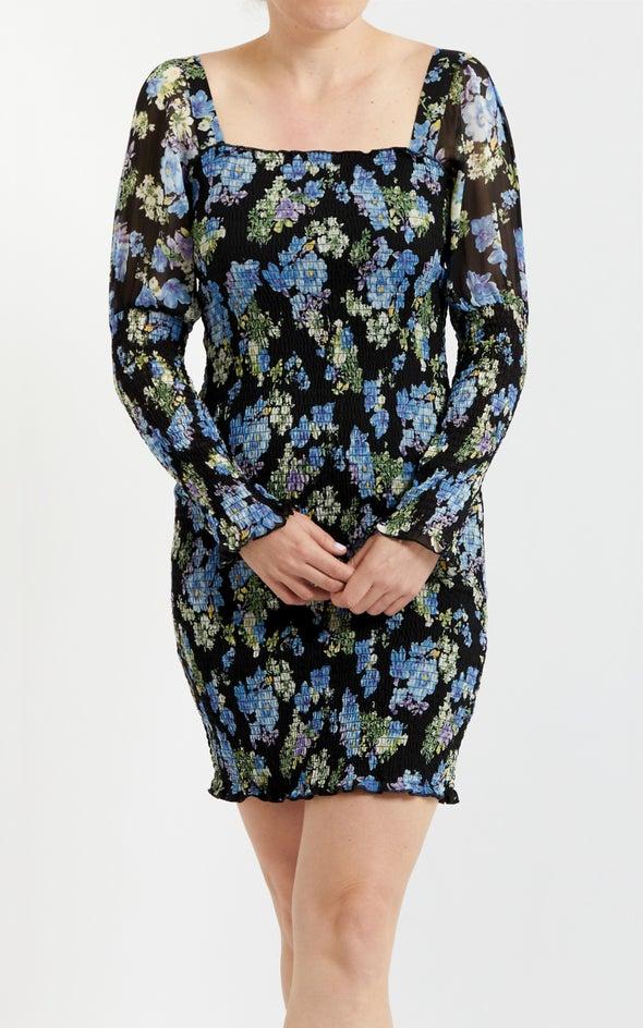 Chiffon Shirred Bodycon LS Dress Black/blue