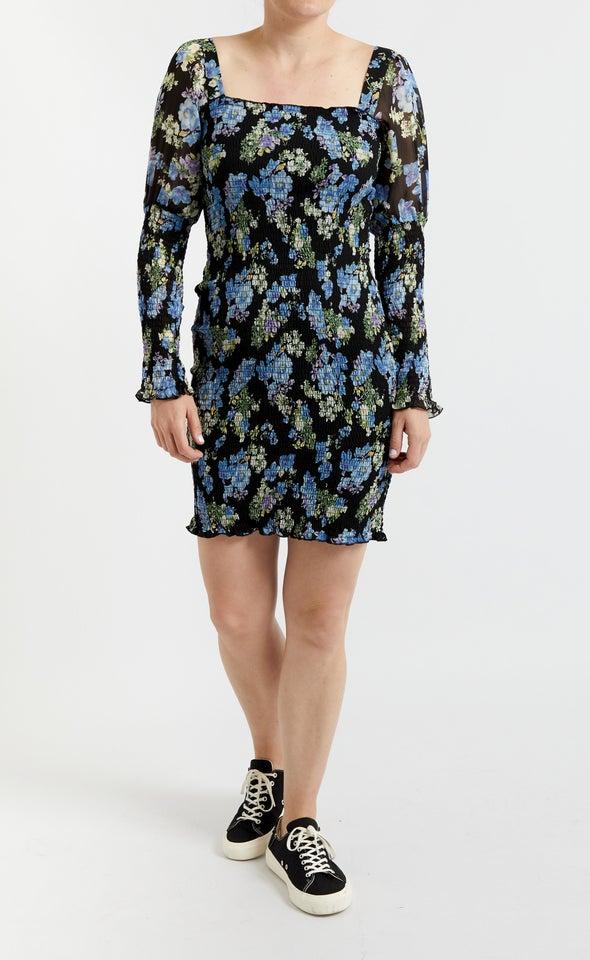 Chiffon Shirred Bodycon LS Dress