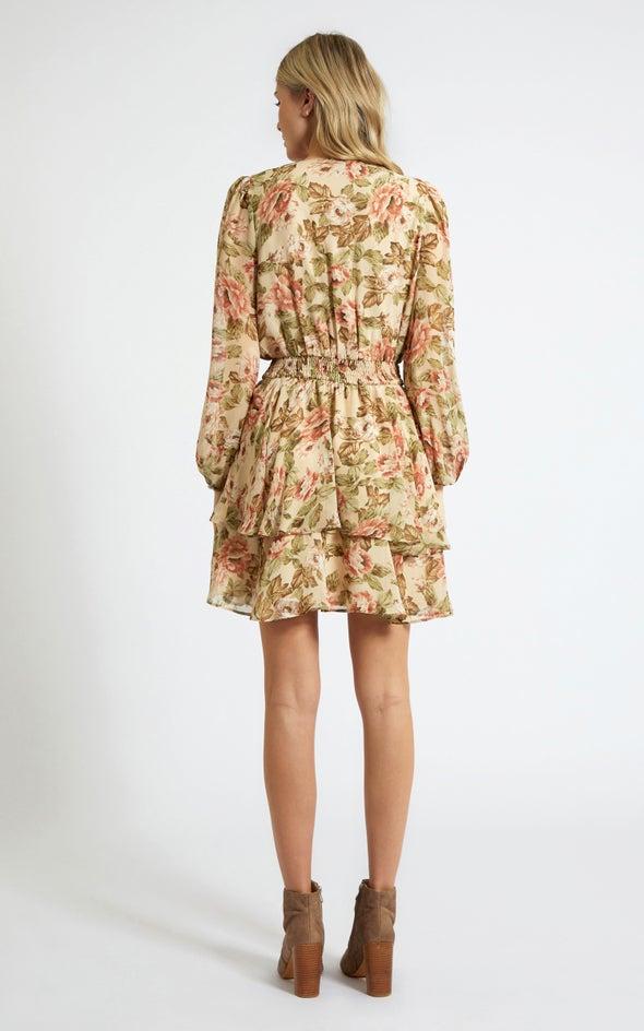Chiffon Shirred Waist LS Dress Beige/floral