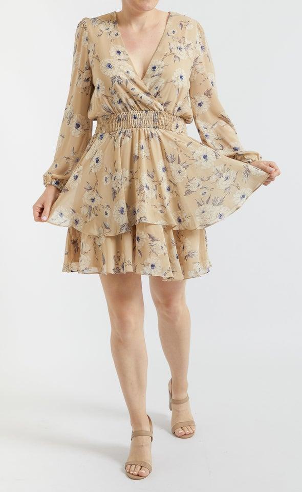 Chiffon Shirred Waist LS Dress