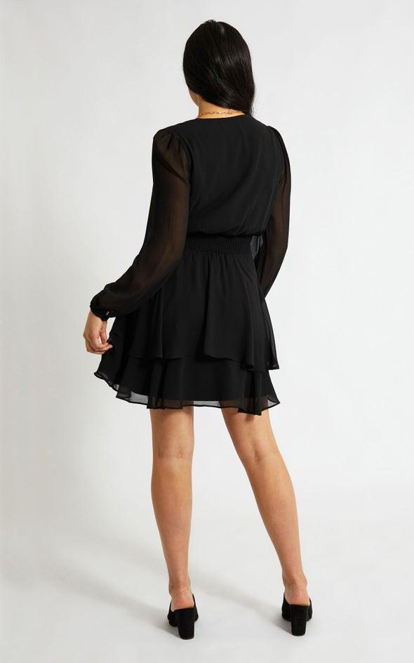 Chiffon Shirred Waist LS Dress Black