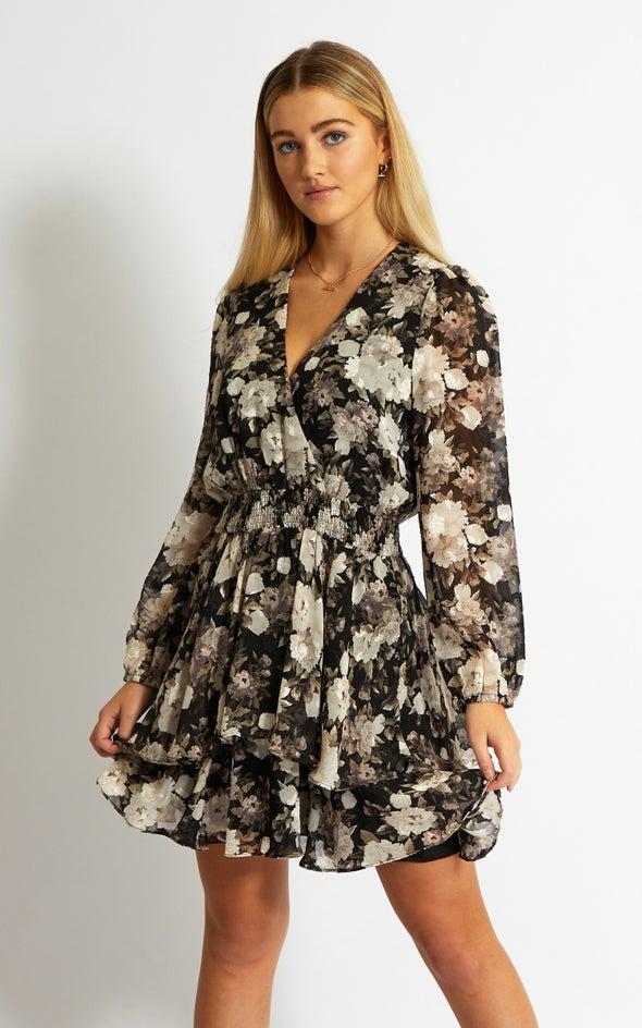 Chiffon Shirred Waist LS Dress Black/floral